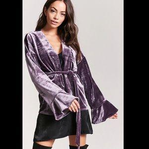 Forever 21 Belted Velvet Cardigan in Purple